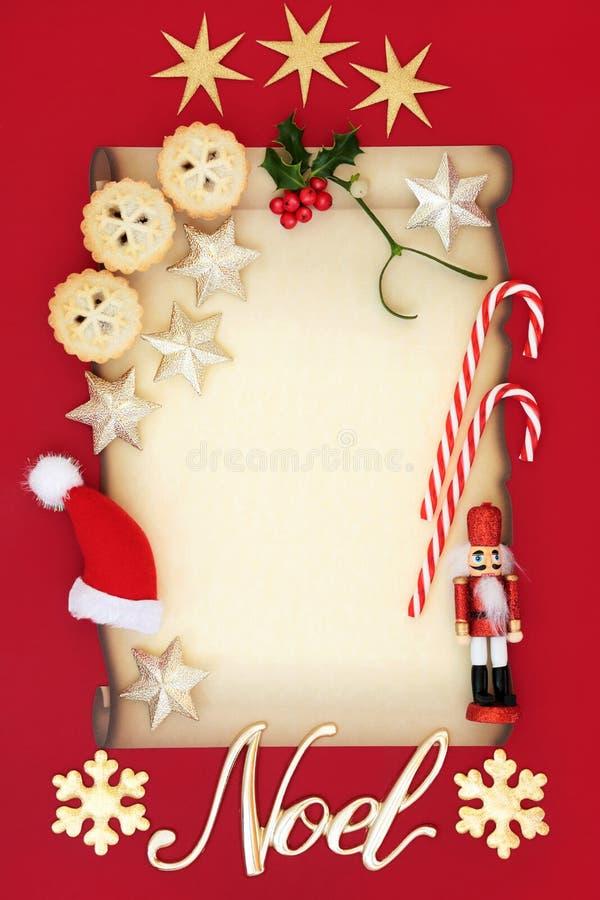 Weihnachtsleerer Buchstabe und -Noel Sign lizenzfreie stockfotos