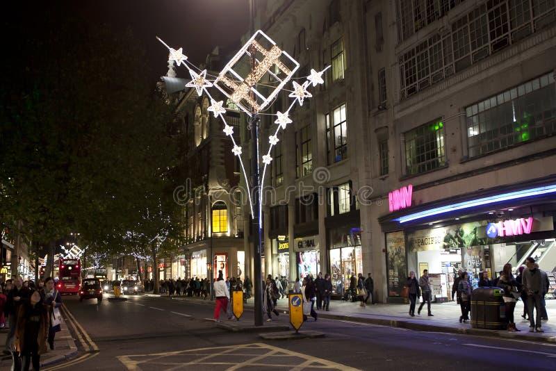 Weihnachtsleuchten auf Oxford-Straße lizenzfreies stockbild