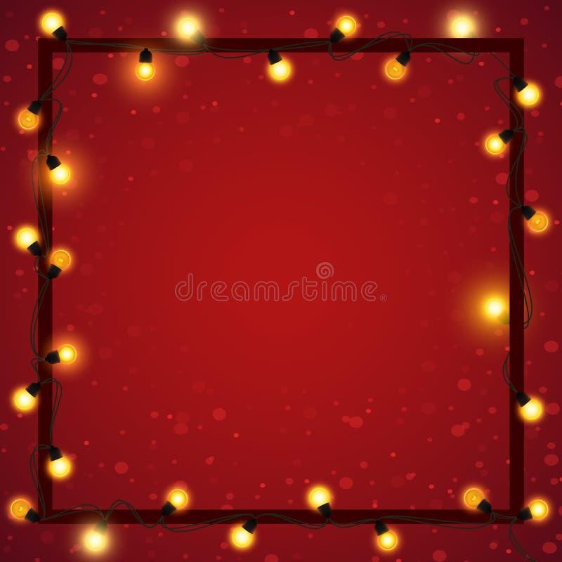 Weihnachtslichter mit Rahmen auf abstraktem unscharfem Hintergrund, Vektorillustration vektor abbildung