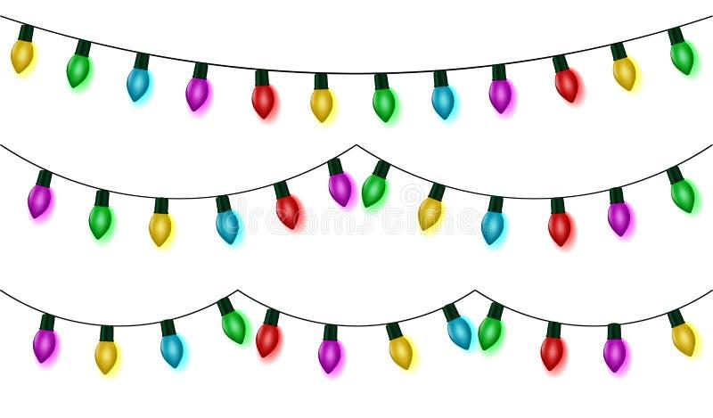 Weihnachtslichter reihen gesetzten Vektor, die Farbgirlandensammlung auf, lokalisiert auf Weiß Hängende Girlande, ol stock abbildung