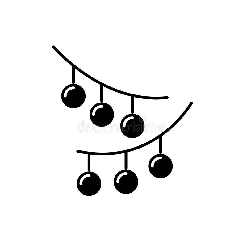 Weihnachtslichter schwarze Ikone, Vektorzeichen auf lokalisiertem Hintergrund Weihnachtslicht-Konzeptsymbol, Illustration vektor abbildung
