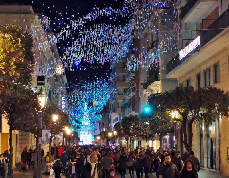 Weihnachtslichter von Salerno stockfotos