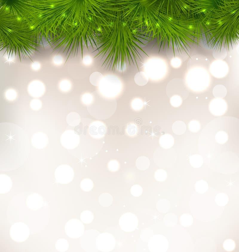 Weihnachtslichthintergrund mit den realistischen Tannenzweigen stock abbildung