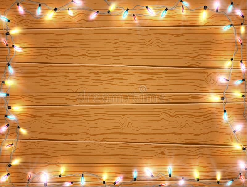 Weihnachtslichtrahmen, Weihnachtsfahne auf hölzernem Hintergrund vektor abbildung