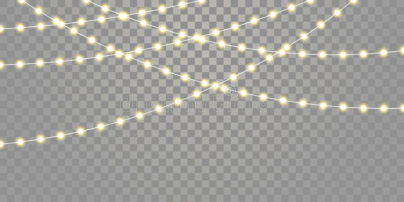Weihnachtslichtvektor lokalisierte Ketten für Feiertagsfeier Weihnachten, Geburtstag, Festivallampenlichter auf transparentem Hin vektor abbildung