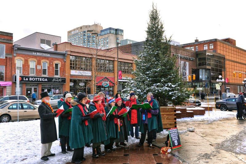 Weihnachtslieder in Ottawa, Kanada lizenzfreies stockfoto