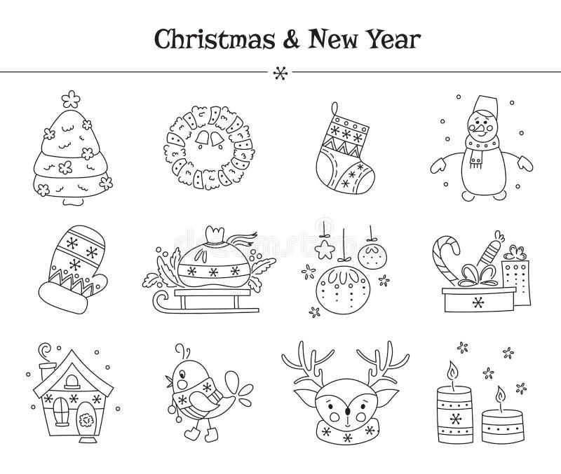 Weihnachtslinie Ikonensatz lizenzfreie abbildung
