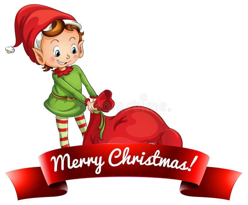 Weihnachtslogo mit Elfe lizenzfreie abbildung