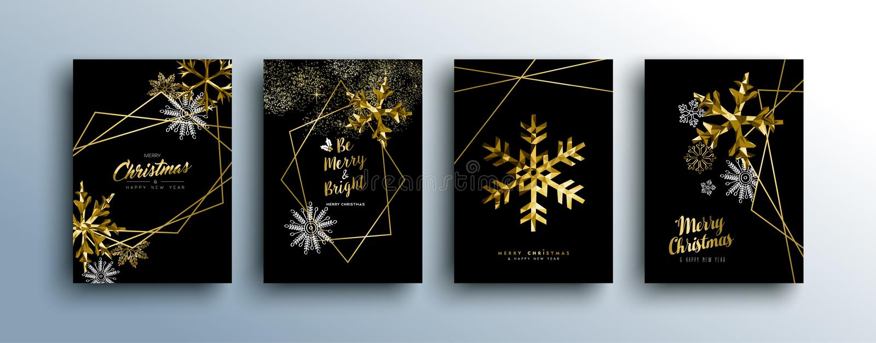 Weihnachtsluxusgoldgrußkartensammlung vektor abbildung