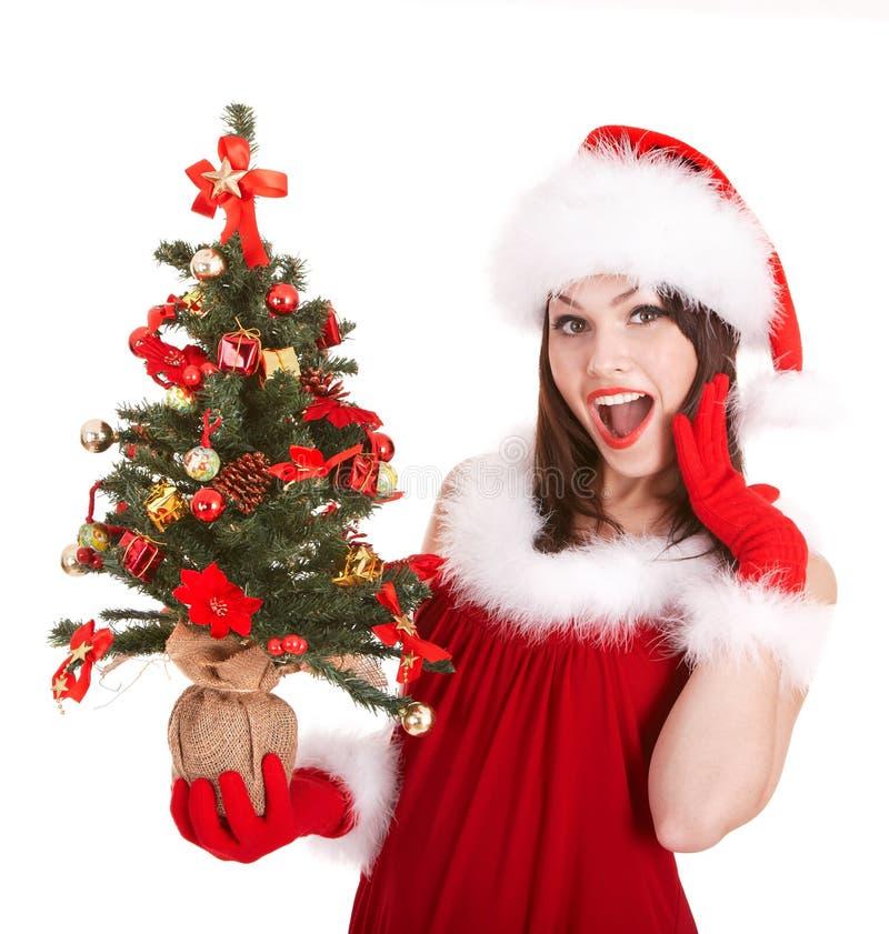 Weihnachtsmädchen im Sankt-Hut mit kleinem Baum. lizenzfreies stockbild