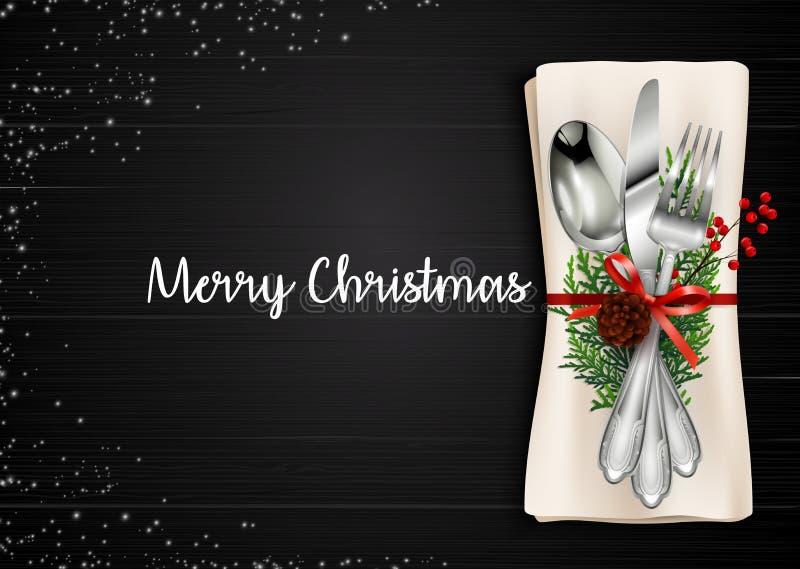 Weihnachtsmahlzeit-Gedeck-Hintergrund lizenzfreie abbildung