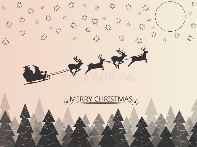 Weihnachtsmann auf dem Rotwildpferdeschlitten, der über den Wald in der Nacht über den Sternen und dem Mond fliegt Auch im corel  stock abbildung