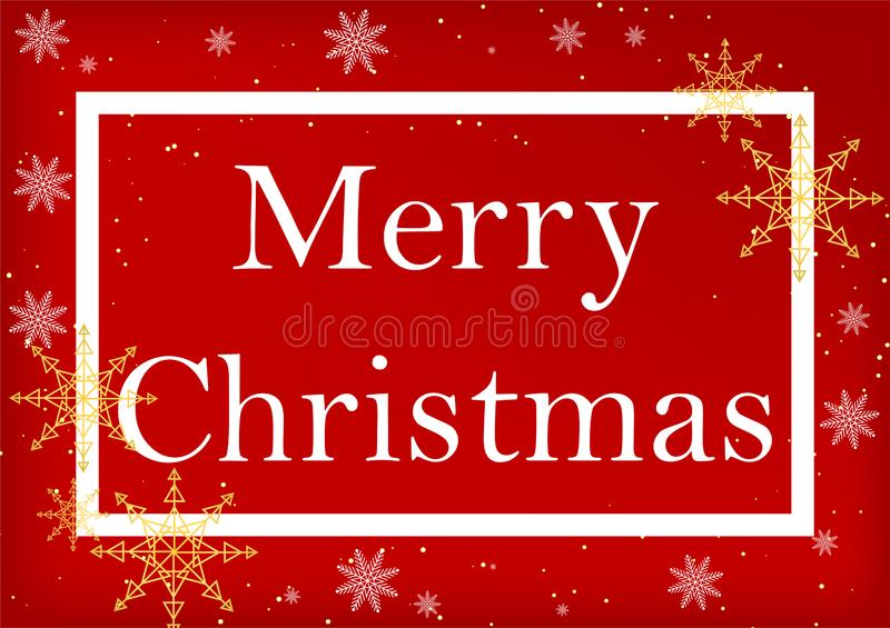 Weihnachtsmann auf einem Schlitten Beschriftung der frohen Weihnachten, roter Hintergrund lizenzfreie abbildung