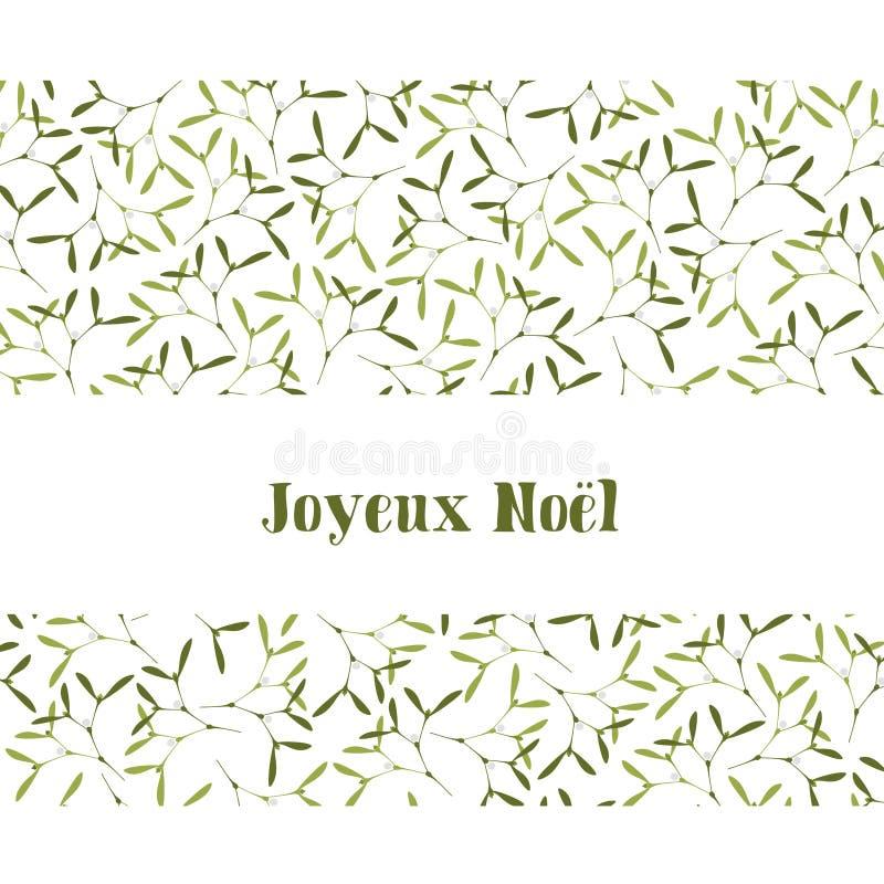 Weihnachtsmann auf einem Schlitten Mistelzweig-und Text-frohe Weihnachten Text auf Französisch Joyeux Noel, in den englischen fro lizenzfreie abbildung
