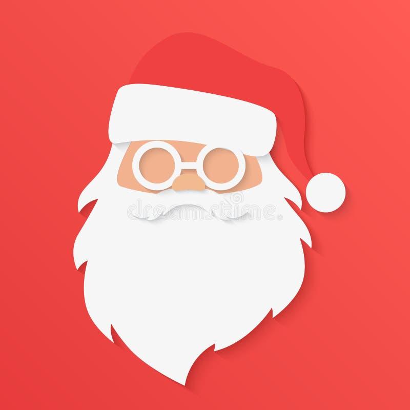 Weihnachtsmann auf einem Schlitten Santa Claus-Porträtgesicht im modischen Papier cuted Artvektorillustration vektor abbildung