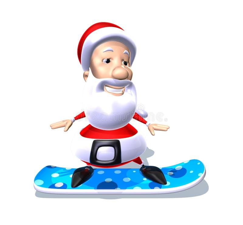 Weihnachtsmann auf einem Snowboard vektor abbildung