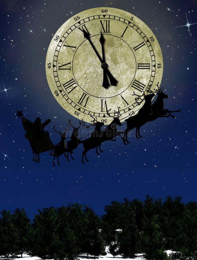 Weihnachtsmann auf Schlitten mit Rotwild lizenzfreie abbildung