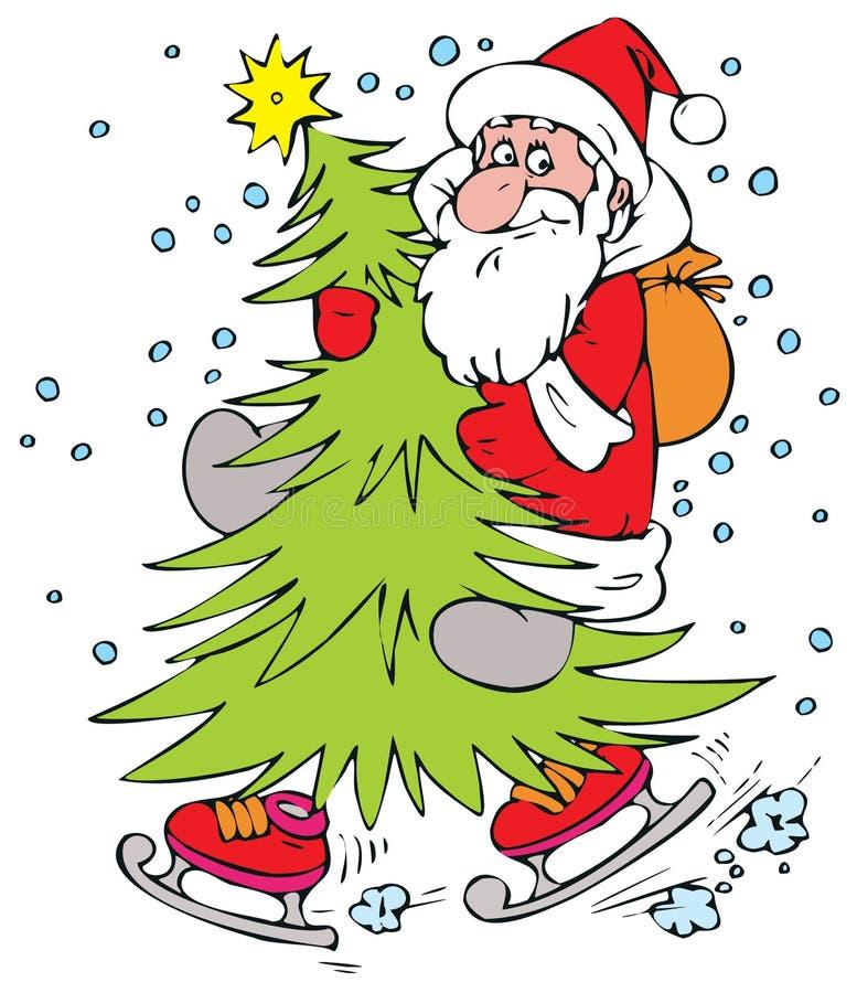 Weihnachtsmann auf Weihnachtenc$pelzbaum lizenzfreie abbildung