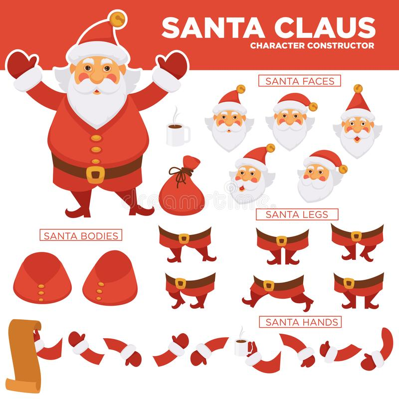 Weihnachtsmann-Charaktererbauer mit Ersatzkörperteilen lizenzfreie abbildung