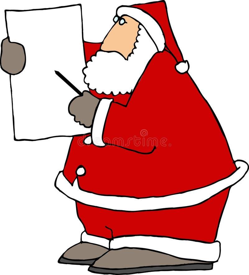 Weihnachtsmann, der eine Nadelanzeige verwendet lizenzfreie abbildung
