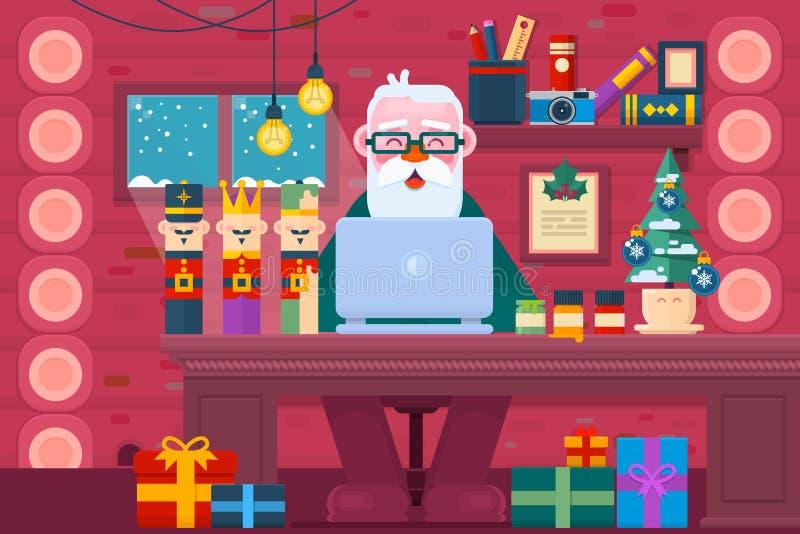 Weihnachtsmann, der einen Laptop verwendet Konzept des neuen Jahres Arbeitsplatz-Innenraum Flache Vektorillustration lizenzfreie abbildung