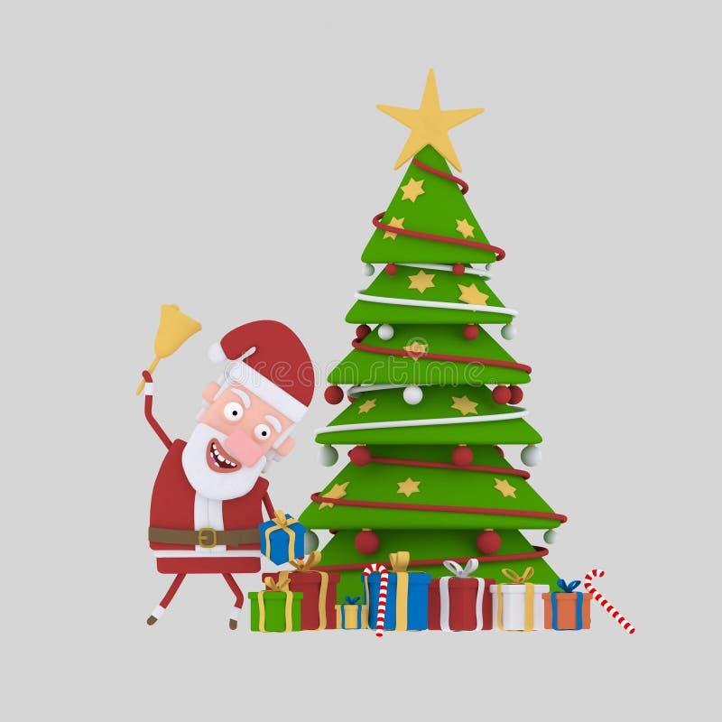 Weihnachtsmann, der Geschenke unter Weihnachtsbaum setzt 3d lizenzfreie abbildung