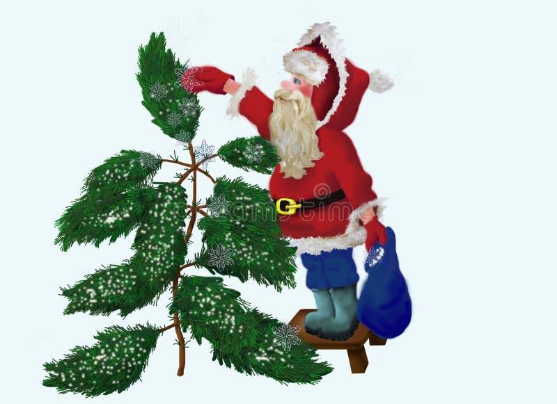 Weihnachtsmann, der Immergrün mit Schnee siebt lizenzfreie abbildung