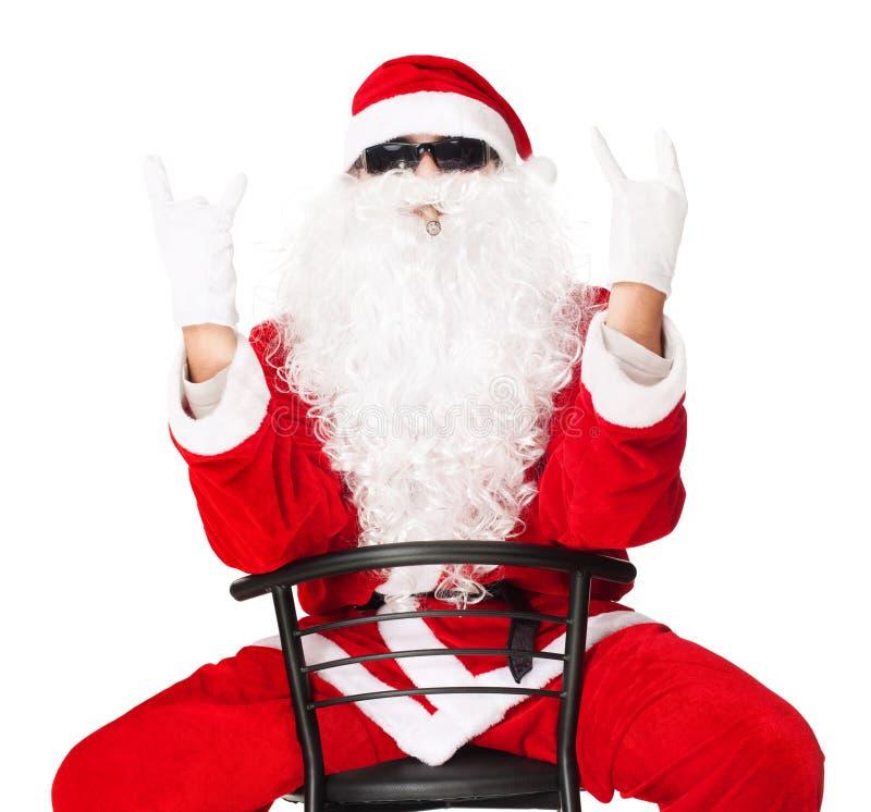Weihnachtsmann, der Schalthebelhandzeichen zeigt stockfoto