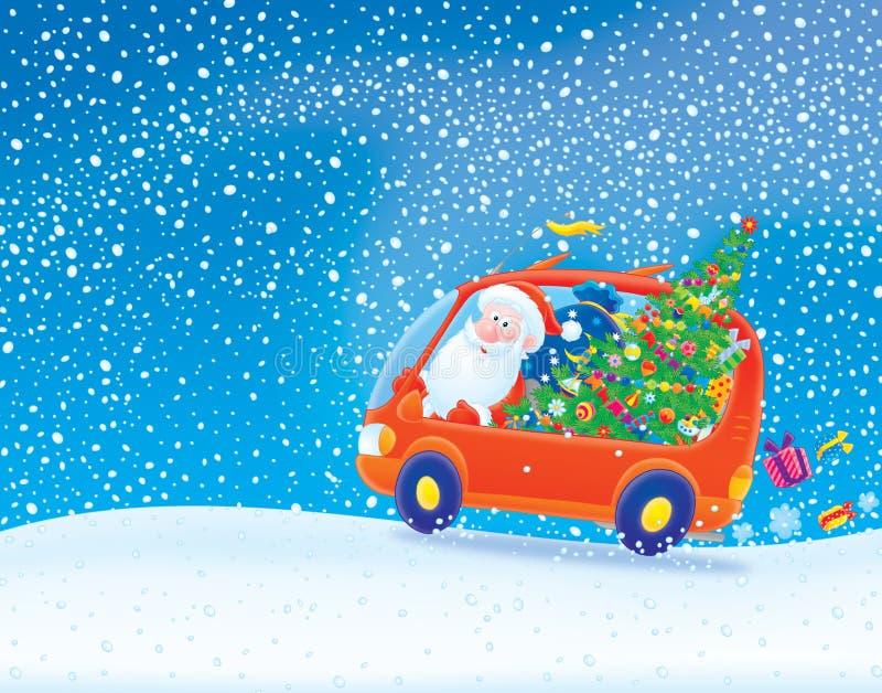 Weihnachtsmann, der in Schneesturm antreibt vektor abbildung