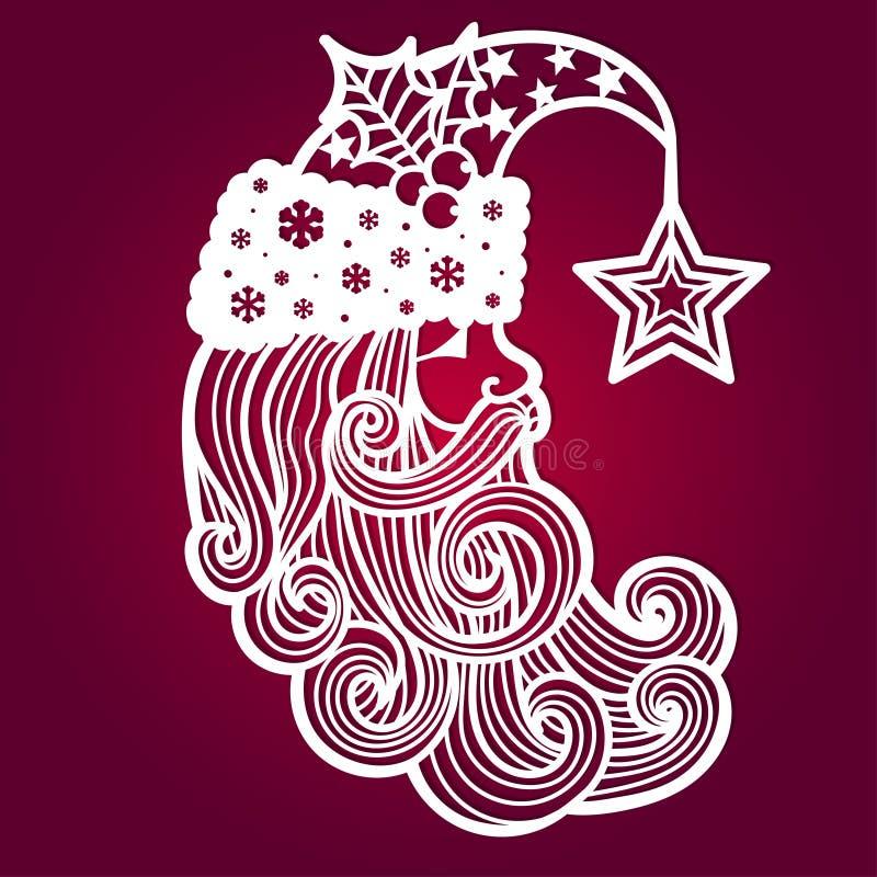 Weihnachtsmann _2 Eine Schablone für Laser-Ausschnitt lizenzfreie abbildung