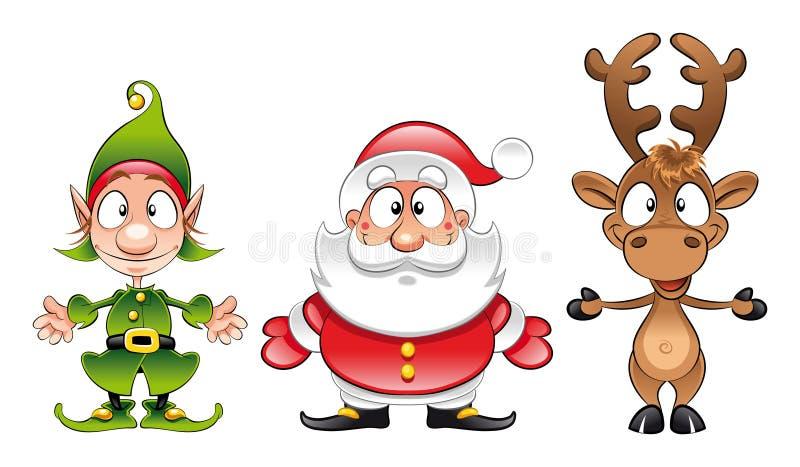 Weihnachtsmann, Elf, Rudolph stock abbildung