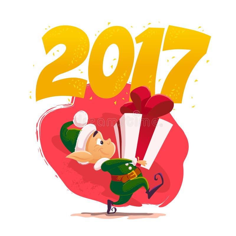 Weihnachtsmann-Elfencharakterporträt des Vektors flaches Weihnachts vektor abbildung
