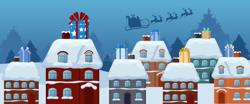 Weihnachtsmann-Fliegen mit Renpferdeschlitten und großer Geschenkbox auf dem Dach Frohe Weihnachten und guten Rutsch ins Neue Jah stock abbildung