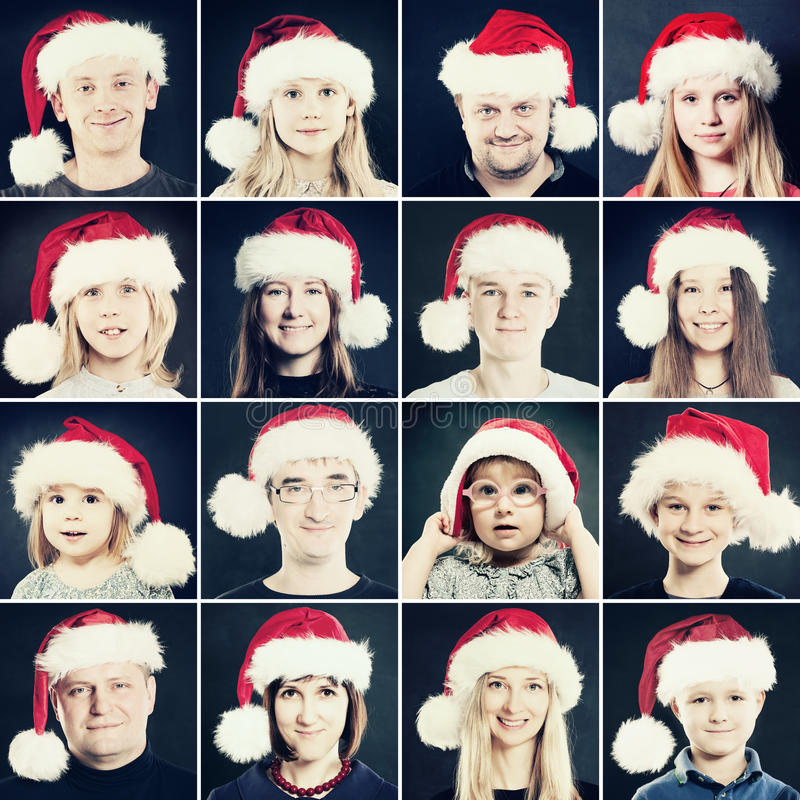 Weihnachtsmann, -frau und -kinder in Santa Hat Porträt von Chri lizenzfreies stockbild