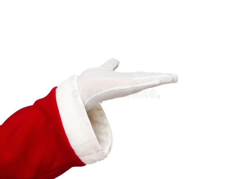 Weihnachtsmann-geöffnete Hand lizenzfreie stockfotos
