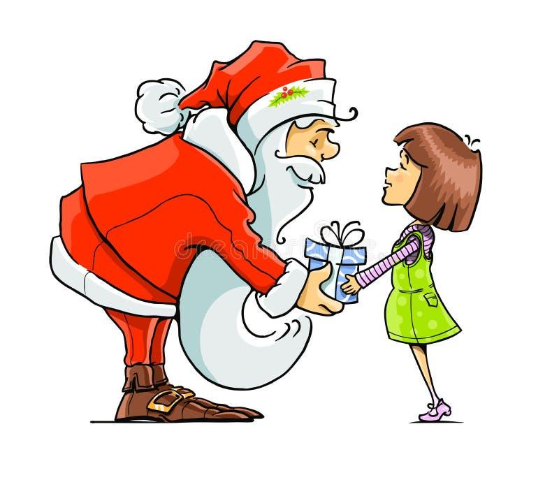 Weihnachtsmann geben dem Mädchen Geschenk stock abbildung
