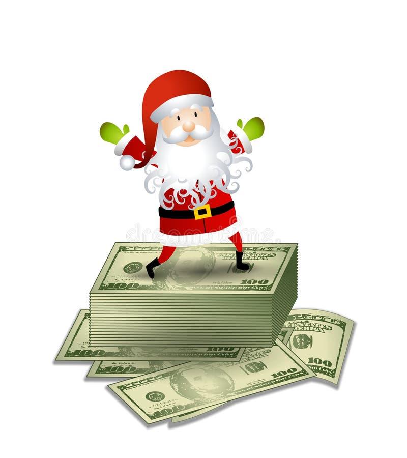 Weihnachtsmann-Geld-Bargeld lizenzfreie abbildung