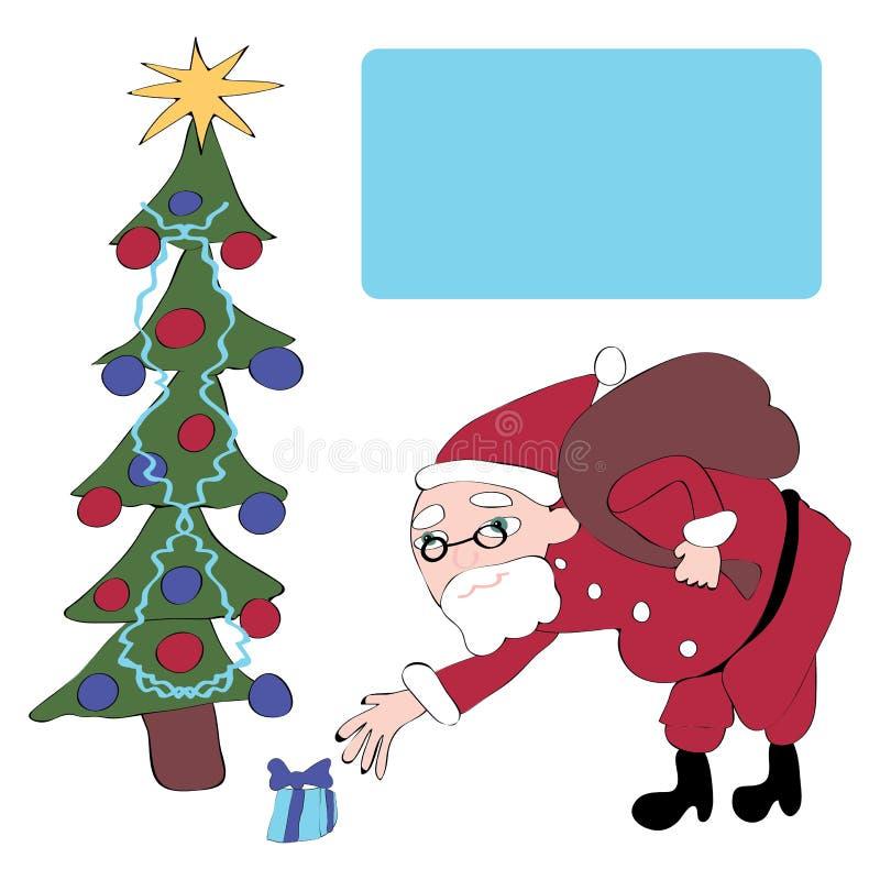 Weihnachtsmann gibt Geschenke lizenzfreie abbildung