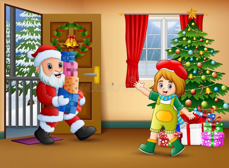Weihnachtsmann-Holdingkastengeschenk mit wenigem Mädchen im Wohnzimmer stock abbildung