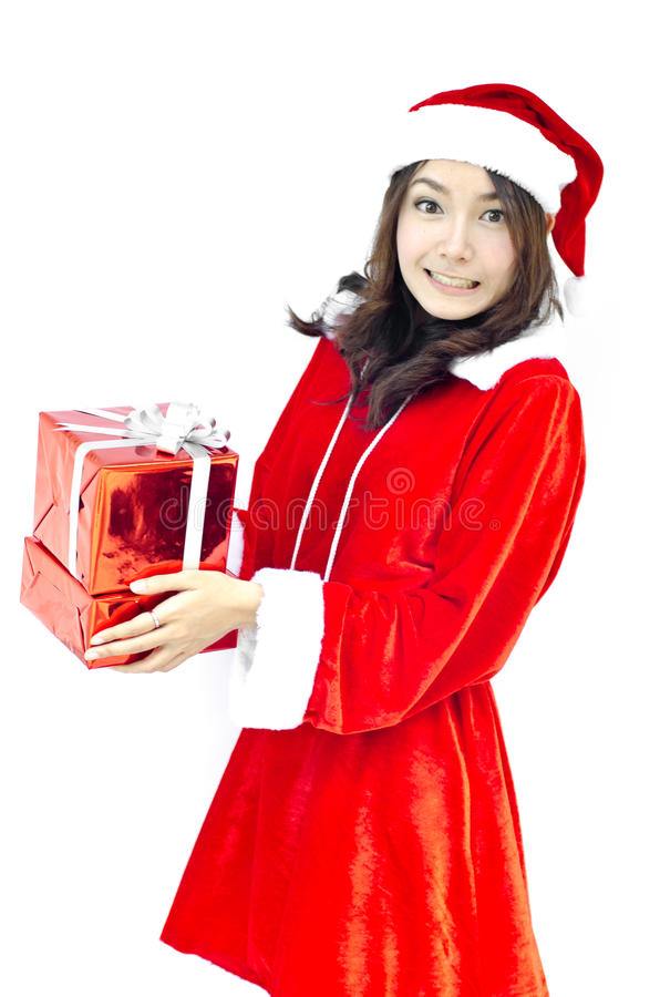 Weihnachtsmann-Hut mit grauem Weihnachtsgeschenkkasten lizenzfreies stockbild