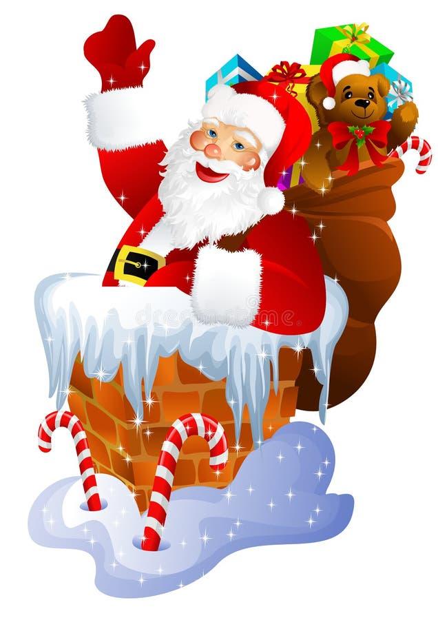 Weihnachtsmann im Kamin stock abbildung