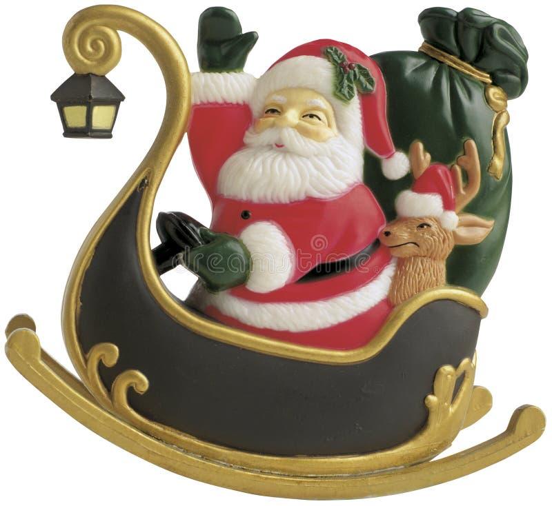 Weihnachtsmann im Schlitten lizenzfreie stockfotos