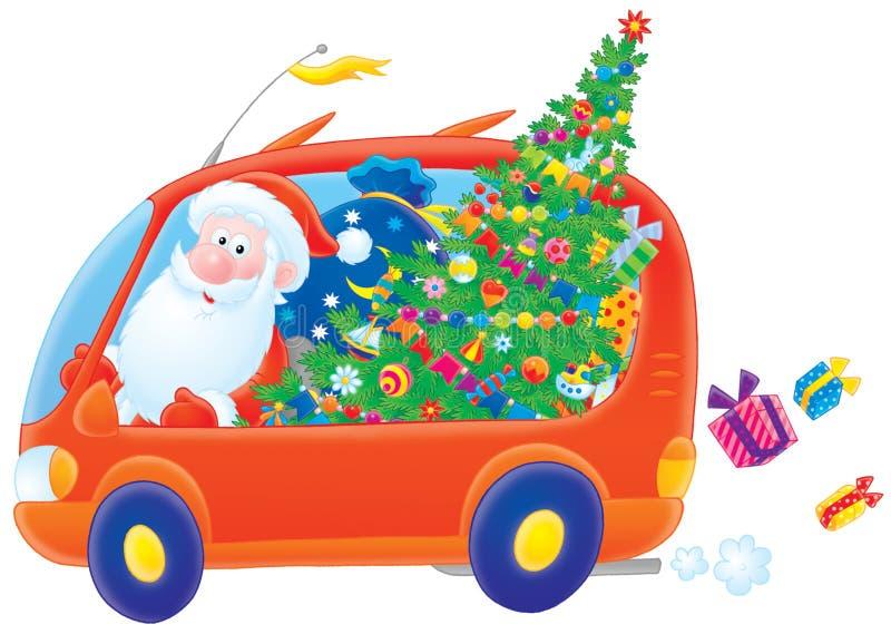 Weihnachtsmann-Laufwerke in seinem Auto stock abbildung