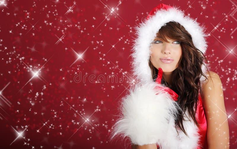 Weihnachtsmann-Mädchen stockfoto