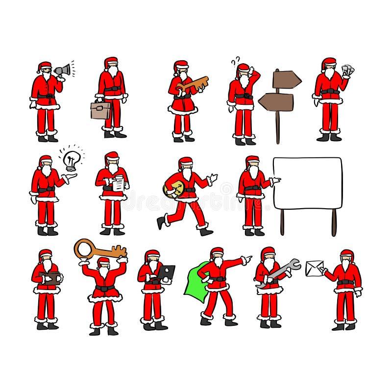 Weihnachtsmann mit der Geschäftskonzeptikonenvektorillustrationsskizzen-Gekritzelhand gezeichnet mit den schwarzen Linien lokalis stock abbildung