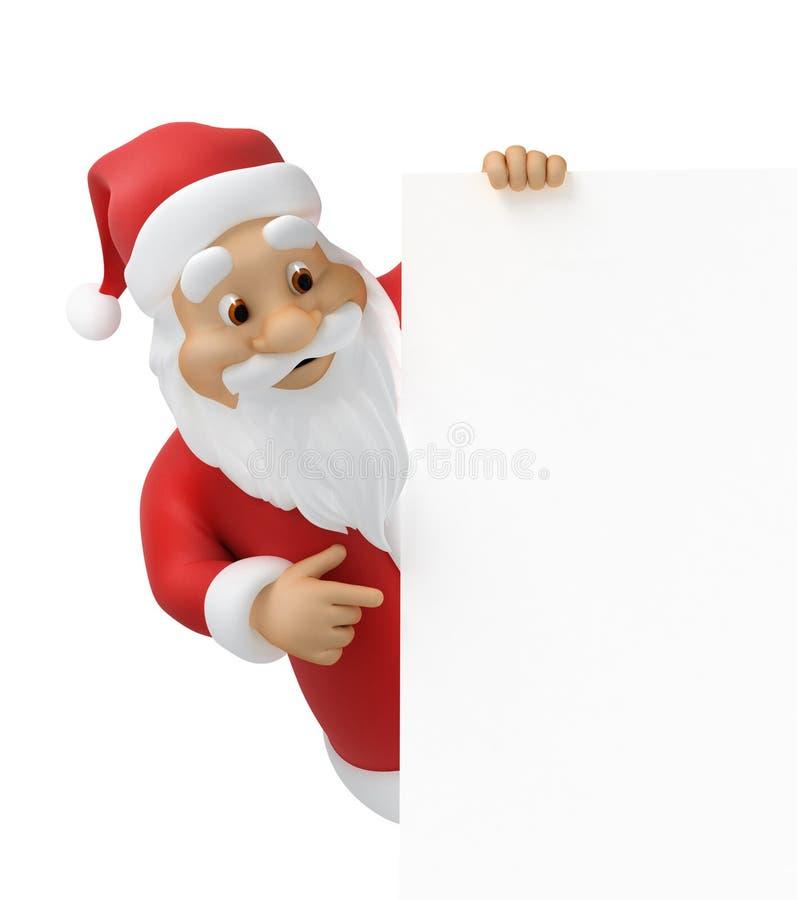 Weihnachtsmann mit einem Blatt Papier stock abbildung