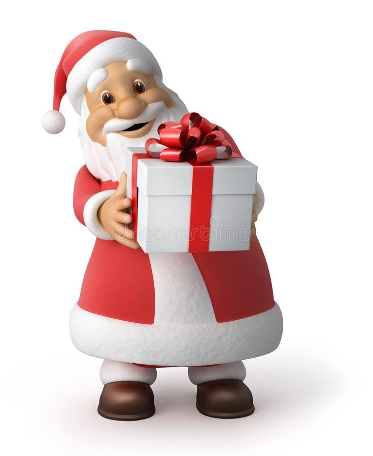 Weihnachtsmann mit einem Geschenk stock abbildung