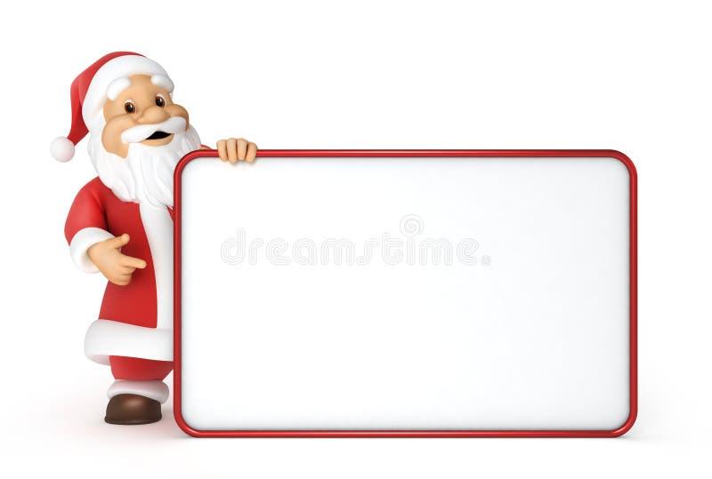 Weihnachtsmann mit einer unbelegten Anschlagtafel lizenzfreie abbildung