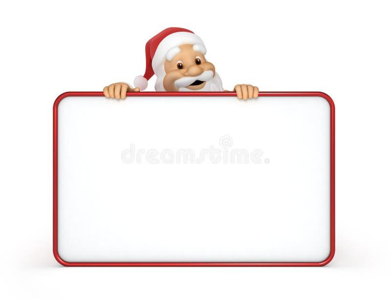 Weihnachtsmann mit einer unbelegten Anschlagtafel stock abbildung