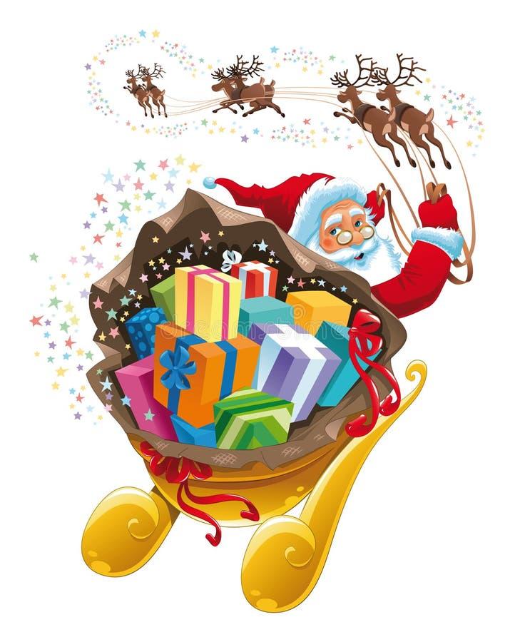 Weihnachtsmann mit Geschenk. stock abbildung